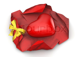 Unwrapped heart gift love, valentine day series 3d isolated characters