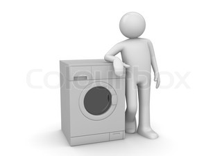 Man leaning on the washer