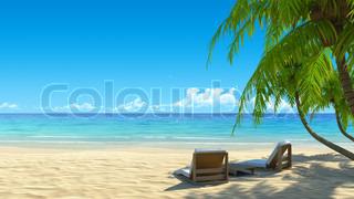 To strand stole på idyllisk tropiske hvide sandstrand .