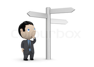 Make your choice! Social 3D characters: businessman looking at crossroads blank plates sign. New constantly growing collection of expressive unique multiuse people images. Concept for making decision illustration. Isolated.