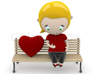 Love fruit! Social 3D characters: preagnant woman on a bench with heart sign. New constantly growing collection of expressive unique multiuse people images. Concept for family illustration. Isolated.