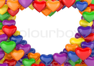 Heart balloons background love, valentine day series 3d isolated characters