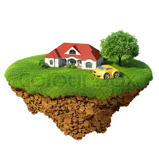 Life of a dream. Lawn with house, river, waterfall, tree and sports car. Fancy island in the air isolated. Detailed ground in the base. Concept of success and happiness, idyllic ecological lifestyle. Series.