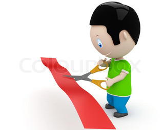 Unveiling! Social 3D characters: young man cutting red line with scissors. New constantly growing collection of expressive unique multiuse people images. Concept for opening illustration. Isolated.