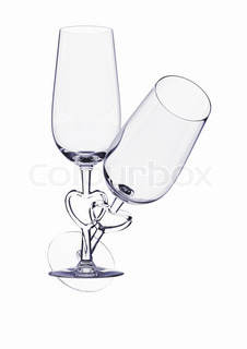 Couple champagne glasses with heart stem love, valentine day series 3d isolated characters
