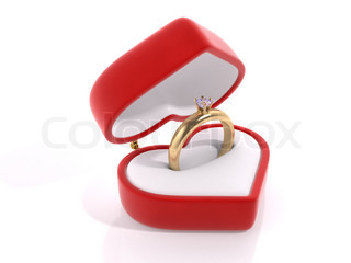 Diamond ring in the heart box love, valentine day series 3d isolated characters