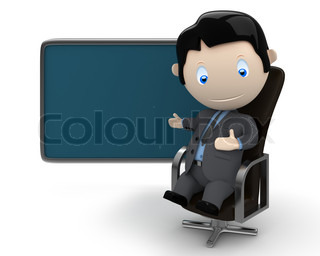 Place your text / logo / product on a blank copyspace. Social 3D characters: businessman in suit  sitting on leather office chair pointing at the blank rectangular space. New constantly growing collection of expressive unique multiuse people images. Concep