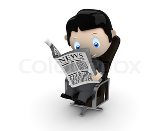 Hot news! Social 3D characters: businessman in suit reading newspaper on a leather office chair. New constantly growing collection of expressive unique multiuse people images. Concept for news illustration. Isolated.