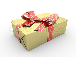 Gold gift box fancy bow red stripe with stars on gold packing paper