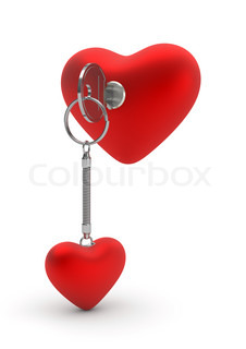 Key opening heart lock love, valentine day series 3d isolated characters