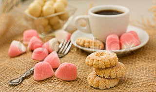 Sweet cookies and coffee