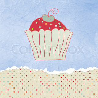 Retro valentine card with cupcake EPS 8