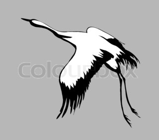 crane silhouette on gray background