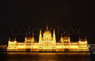 Famous Building of Parliament at night, Budapest