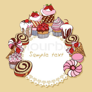 Retro card background with cakes, vintage frame, Invitation, greeting with cupcakes for design
