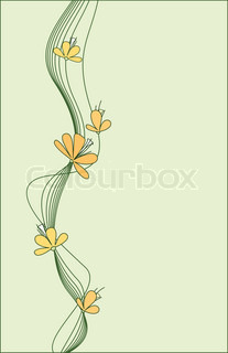Beautiful flowers against a background of light green ornament