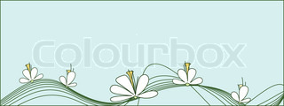 Beautiful white flowers against a background of light green ornament