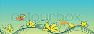 Beautiful yellow flowers and butterflies against of turquoise background