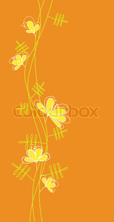 postcard beautiful flowers on an orange background