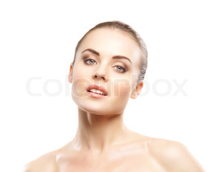 Portrait of young attractive woman isolated on white