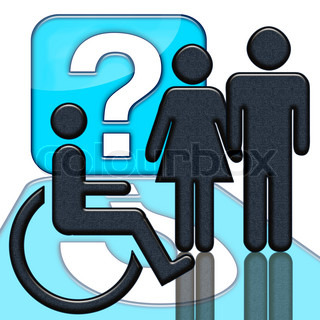 People and handicapped person in wheelschair with question mark over white background
