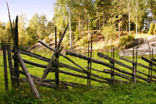 vintage wooden fence in front of gren sunny grazing land