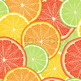 Abstract color background with citrus-fruit of grapefruit, orange and lemon slices citrus pattern Vector Illustration