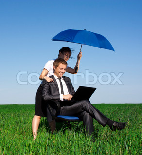 The insurance woman in the field