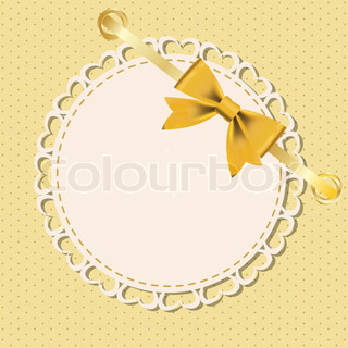 Vector greeting card with frame and bow Space for your text or picture
