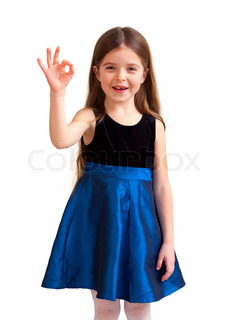 cute six year old girl with thumbs up, isolated against white background