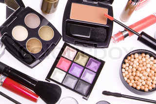 set of cosmetic makeup products