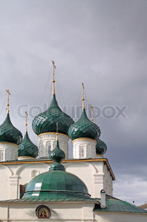 christian orthodox church on cloudy background