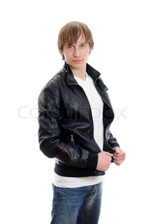 Casual young man in white t-shirt, leather jacket and jeans Isolated on white