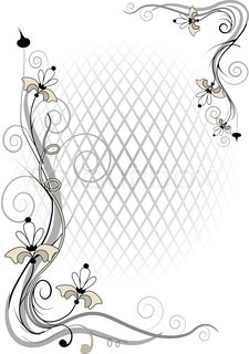 Decorative frame and corner of the flowers of  by volume grid