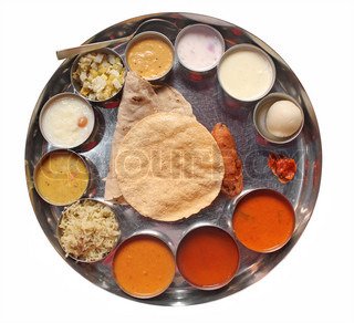 Indian plate meals with chapatti, rasam and sambar
