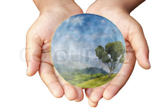 Hands and Earth Concept of environmental protection