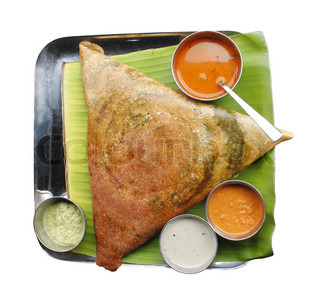 Masala dosa with different types of chutney and sambar