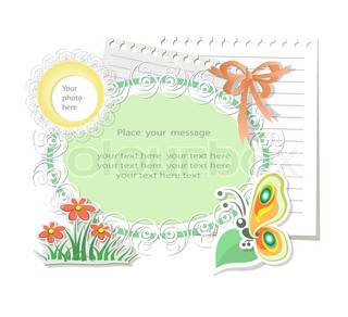 Vector card with scrapbook elemenys