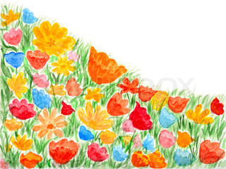 Summer flowers corner watercolor hand-painted