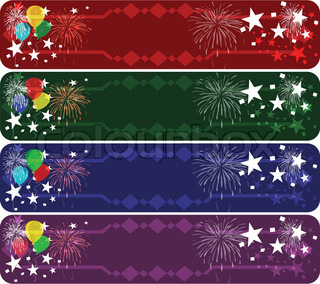Set of four colored party banners with stars, balloon symbols.