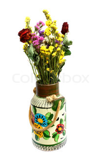 Old vase and dried flowers