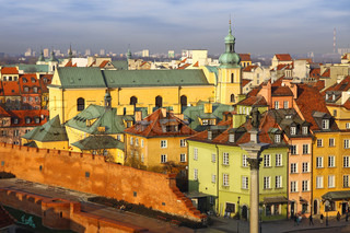 Buildings at Old Town Square Plac Zamkowy in Warsaw, Poland