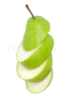 sliced pear isolated on white background