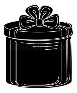 Gift box round, black silhouette, isolated on white