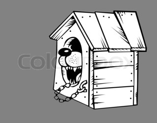 dog in kennel on gray background