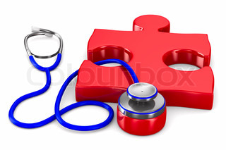 Stethoscope and puzzle on white background Isolated 3D image