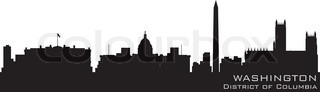 Washington, District of Columbia skyline Detailed vector silhouette