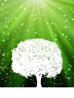 Tree with green burst for your design EPS 8