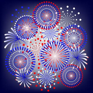 fireworks in colors of usa flag
