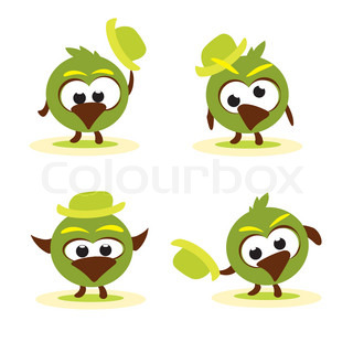 Set of funny cartoon birds with hat vector image